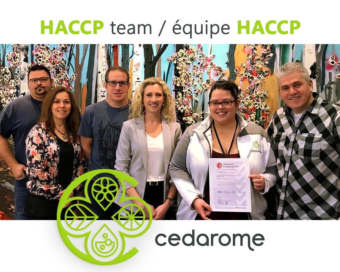 SQF Cedarome HACCP team - Équipe HACCP